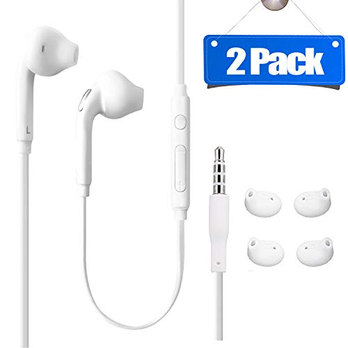 2Pack Earbuds 3.5mm Premium Sound Handsfree Earphones Mic Dual Earbuds Headphones Earpieces in-Ear Stereo Wired White Fit Compatible All Samsung Galaxy S6 Edge+/ S6/ Note 8/Note 9/ S8/S8+ S9/S9+