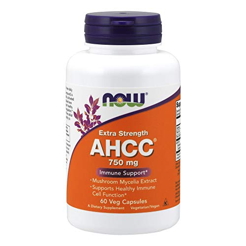 NOW Supplements, AHCC (Active Hexose Correlated Compound), (Mushroom Mycelia Extract)750mg, Extra Strength, 60 Veg Capsules