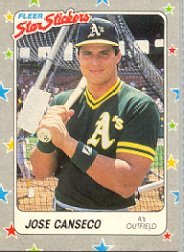 1988 Fleer Sticker Cards 54 Jose Canseco Baseball Cards At