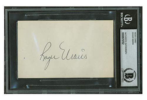 Roger Maris MINT Signed 3x5 Index Card Cut New York Yankees BGS Beckett COA
