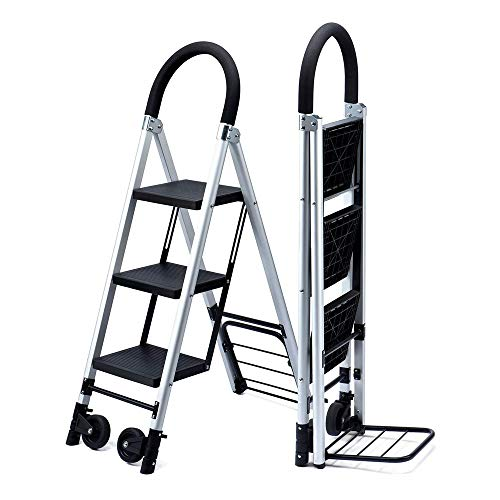 Delxo Folding 3 Step Ladder with Rolling Wheels