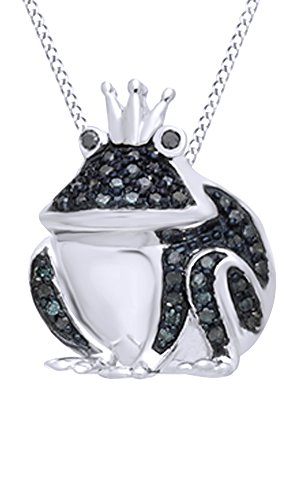 Black & Blue Natural Diamond Frog Pendant Necklace in 14k White Gold Over Sterling Silver (0.17 cttw)