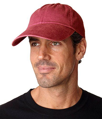 Adams Sunbuster Pigment Dyed Twill Cap With Extra Long Visor (Nautical Red) (ALL) (Twill Dyed Cap Pigment Solid)