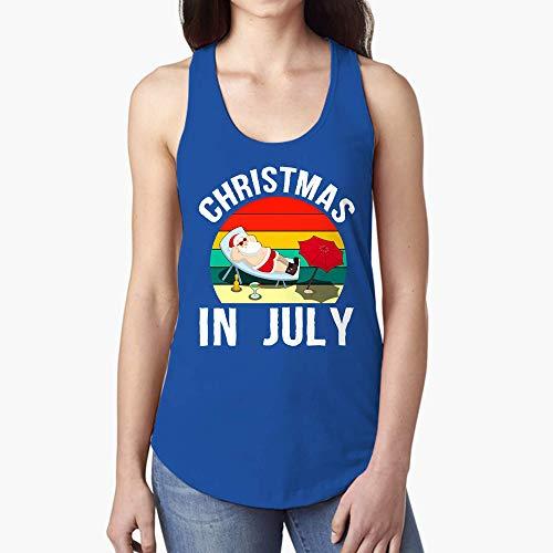 Summer Tank Top Christmas in July Santa Vinatge ()