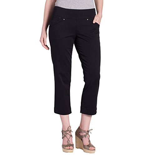 Twill Crop (Jag Jeans Women's Marion Pull On Crop, Black, 16)