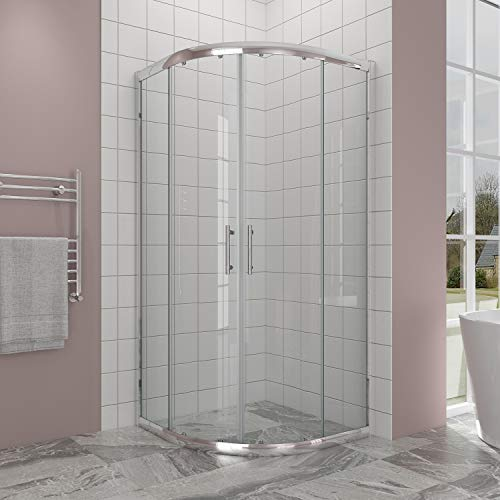 ELEGANT Sliding Corner Glass Round Shower Enclosure, 36 7/10