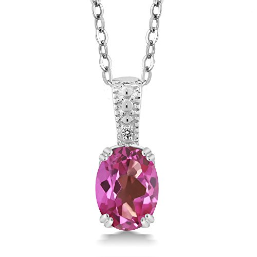 Gem Stone King Pink Mystic Topaz & White Diamond 925 Sterling Silver Pendant (1.31 cttw, with 18inches Chain) ()