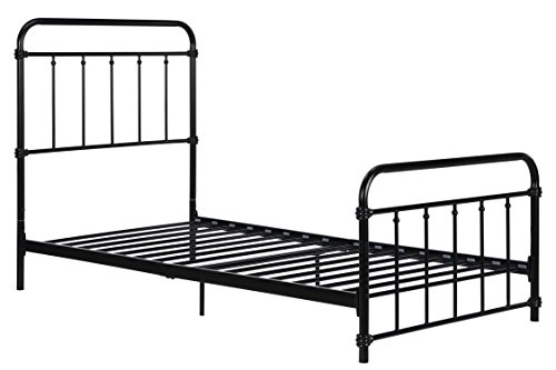 Wallace Metal Bed Frame in Black with Vintage Headboard and Footboard, No Box Spring Needed, Metal Frame with Slats, Weight limit 225 lbs, Twin - Black Frame Vintage
