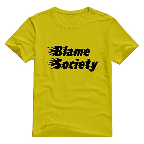 KST Men's Blame Society 100% Cotton O Collar Hot Topic Letter T-Shirt Gold Size XXL