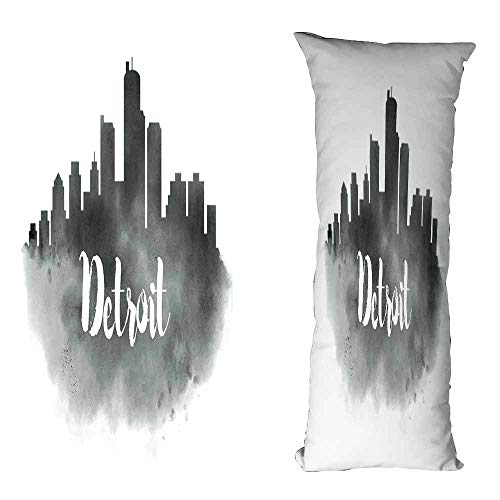 (DuckBaby Creative Pillowcase Detroit Smoky City Skyline with Brushstrokes Hand Written Style Letters Buildings Wrinkle Resistance W16 xL39 Charcoal Grey White)