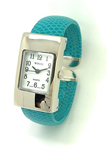 White Leather Cuff Watch - Ladies Small Rectangle Snakeskin Leather Bangle Cuff Watch White Dial Wincci (Turquoise)