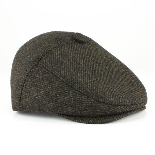 Casquette plate en Tweed style Country structuré visière à rayures fines Marron