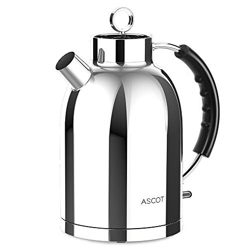 ASCOT Electric Kettle Stainless Steel 1.7 L Tea Kettle, BPA Free Hot Water Kettle, Fast Heating, Food-Grade Material, Boil Dry Protection Automatic Shutoff, Bright Silver 1500W