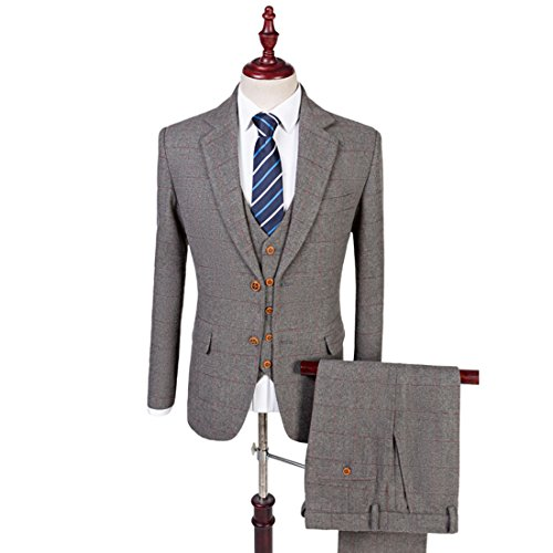 Grey Classic Tweed Herringbone Wool Blend Men Suit 3 Pieces Check Plaid Striped Tailored (Plaid Wool Blend Blazer)