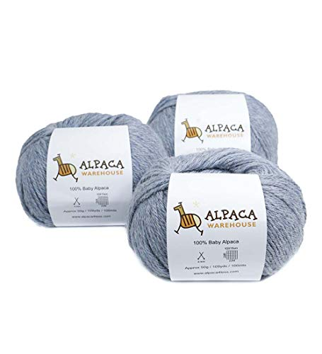 100% Baby Alpaca Yarn Wool Set of 3 Skeins Worsted Weight (Heather Sky Blue) ()