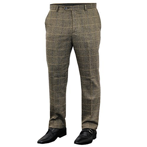 Wool Zip Fly Trousers (Men's CAVANI Trousers ALBERT Tan Waist 30