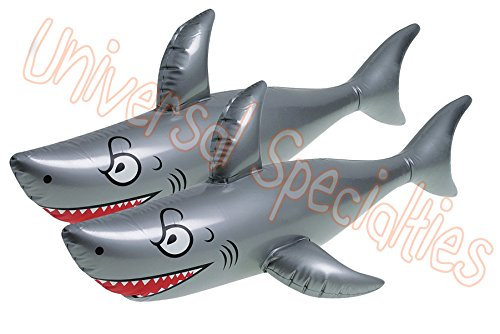 Giant Inflatable Shark Pool Toy - Inflates to 40 Inches! Party Favor 2 Pack by Universal Specialties