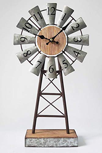 MODE HOME Galvanized Windmill Table Clock on Stand Vintage Desk Clock Decorative Farmhouse Kitchen Clock Mantle Clock - Factory direct,Vintage galvanized windmill tabletop clock on stand Clock measures 8.3L x 3.15W x 15.75H in Requires one AA battery; battery not included - clocks, bedroom-decor, bedroom - 41J%2Ba3j5pFL -