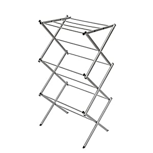 "StorageManiac 3-tier Folding Anti-Rust Compact Steel Clothes Drying Rack - 22.44""x14.57""x41.34"""