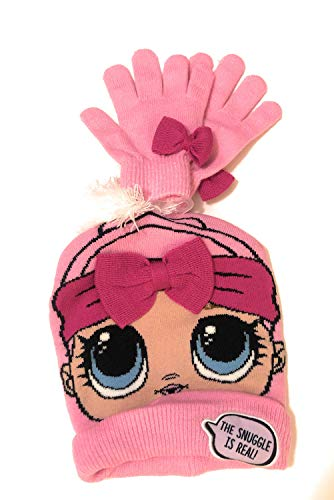 L.O.L. Surprise Knitted Beanie Hat And Matching Gloves Set-Pink The Snuggle Is Real