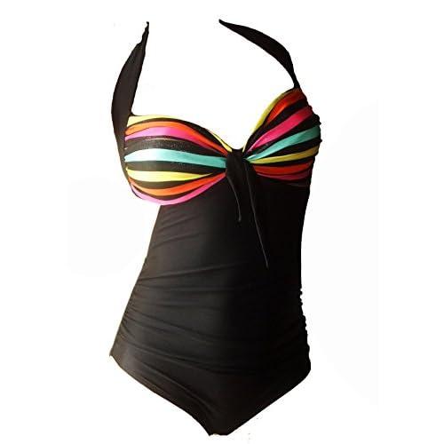 Maillot de bain 1 une pièces femme monokini rayé multicolore plusieurs tailles