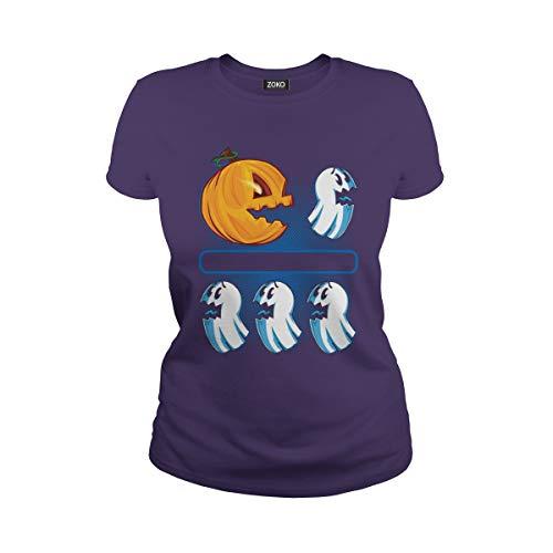 (Women's Ghost Chaser Pacman Pumpkins Halloween T-Shirt (XL,)