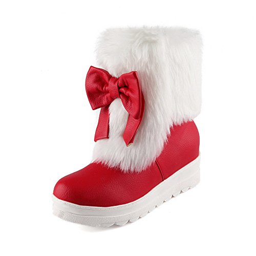 Solid PU Women's Toe Round On Heels WeenFashion Pull Red Kitten Closed Boots wZqd115E