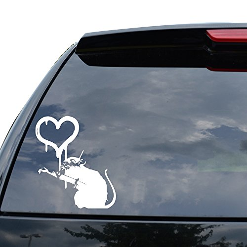 Banksy Street Artist Dirty Rat Love Decal Sticker Car Truck Motorcycle Window Ipad Laptop Wall Decor   Size  07 Inch   18 Cm Tall    Color  Matte White