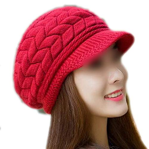 - CouGoo Knitted Hat Women Winter Hats Beanie Girls Skullies Caps Bonnet Femme Snapback Warm Wool Hat red 56cm-58cm