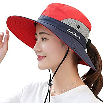 Women Girls Foldable Wide Brim Hat UV Protection Bucket Cap Ponytail for Beach Safari Fishing Yimidear Summer Sun Hat