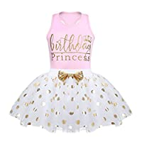 ACSUSS Baby Girls Princess 2PCS Birthday Party Outfits Racer Back Shirt Vest with Sequins Polka Dots Tutu Skirt Set Pink 2-3