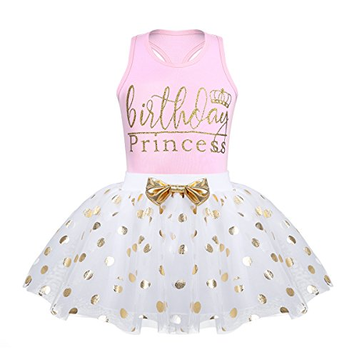 (zdhoor Infant Baby Girls Sleeveless Birthday Outfits Princess Bodysuit Tops with Gold Polka Dot Tutu Skirt Set Pink 3-4)