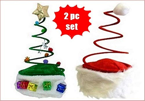 HAPPY DEALS ~ Set of 2 Coil Spring Christmas Hats - Christmas Tree Hat + Coil Santa Hat Set Dress up Christmas Party Hats (Spring Hat Santa)
