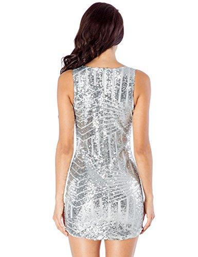 LookbookStore Mini vestido de fiesta o c¨®ctel de lentejuelas para mujer color champagne y escote en V Plateado