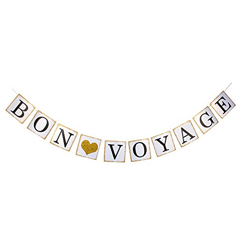 Hatcher lee Bon Voyage Banner - Gold Glitter Heart for Adventure Awaits Party Decorations Bunting