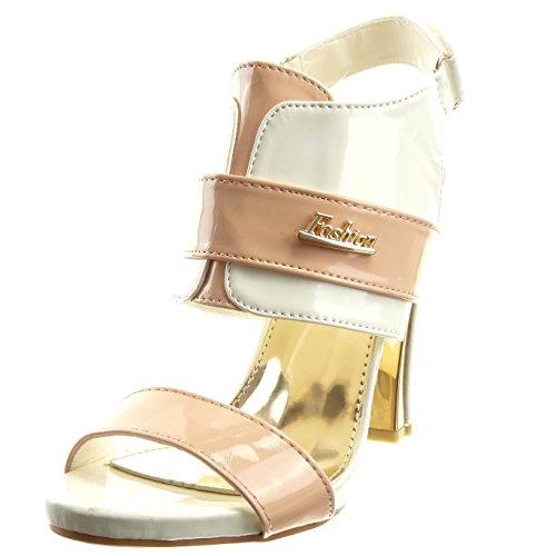 Sopily - Chaussure Mode Sandale Escarpin Ouverte hauteur cheville femmes finition surpiqûres coutures verni Métallique Talon haut bloc 10.5 CM - Blanc