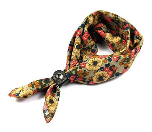 Neckerchiefs for Men, 24''× 24'' Multicolored Floral Cotton Scarves with Buckle (Mens Floral Scarf)