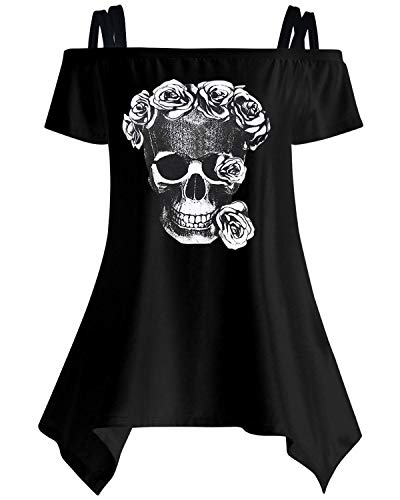 - Women Skull Print Punk Rock Gothic Shirt Short Sleeve Blouse Tank Tops Size S-5XL