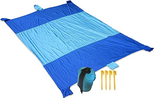 Beach Blanket Oversized 7x9' Sand proof | Wind-Resistant, Lightweight, Waterproof | 6 Sand Pockets | Includes Travel Bag | BONUS! Complimentary Stakes For Secure Positioning | Beach, Picnic, - Things List Bring To Camping Of