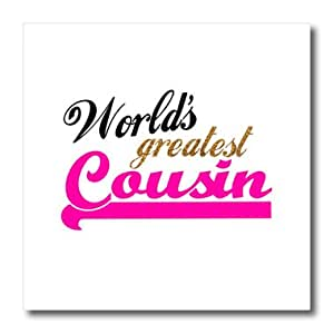 ht_151292_3 InspirationzStore Typography - Worlds Greatest Girl Cousin - Best family relative - hot pink for female relations - cousin sister - Iron on Heat Transfers - 10x10 Iron on Heat Transfer for White Material