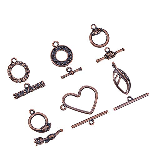 Pandahall 30 Sets (6 Style, 5sets/Style) Red Copper Tibetan Style Alloy Toggle Clasp Sets Lead Free & Nickel Free