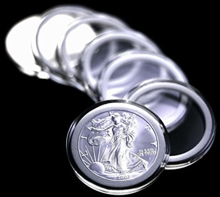 (10 Airtite Coin Capsule Holders w WHITE Rings for American Silver Eagle Dollar )