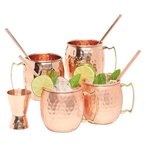 - Kitchen Science Moscow Mule Hammered Copper 16 Ounce Drinking Mug, Set of 4 (4) (4)