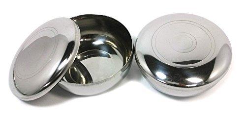 Stainless Steel Korean Kitchen Restaurant Dinner Soup Rice Bowl & Cover 2 Sets