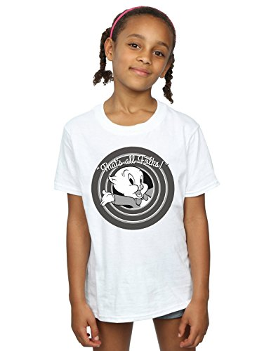 Looney Tunes Girls Porky Pig That's All Folks T-Shirt 7-8 Years White