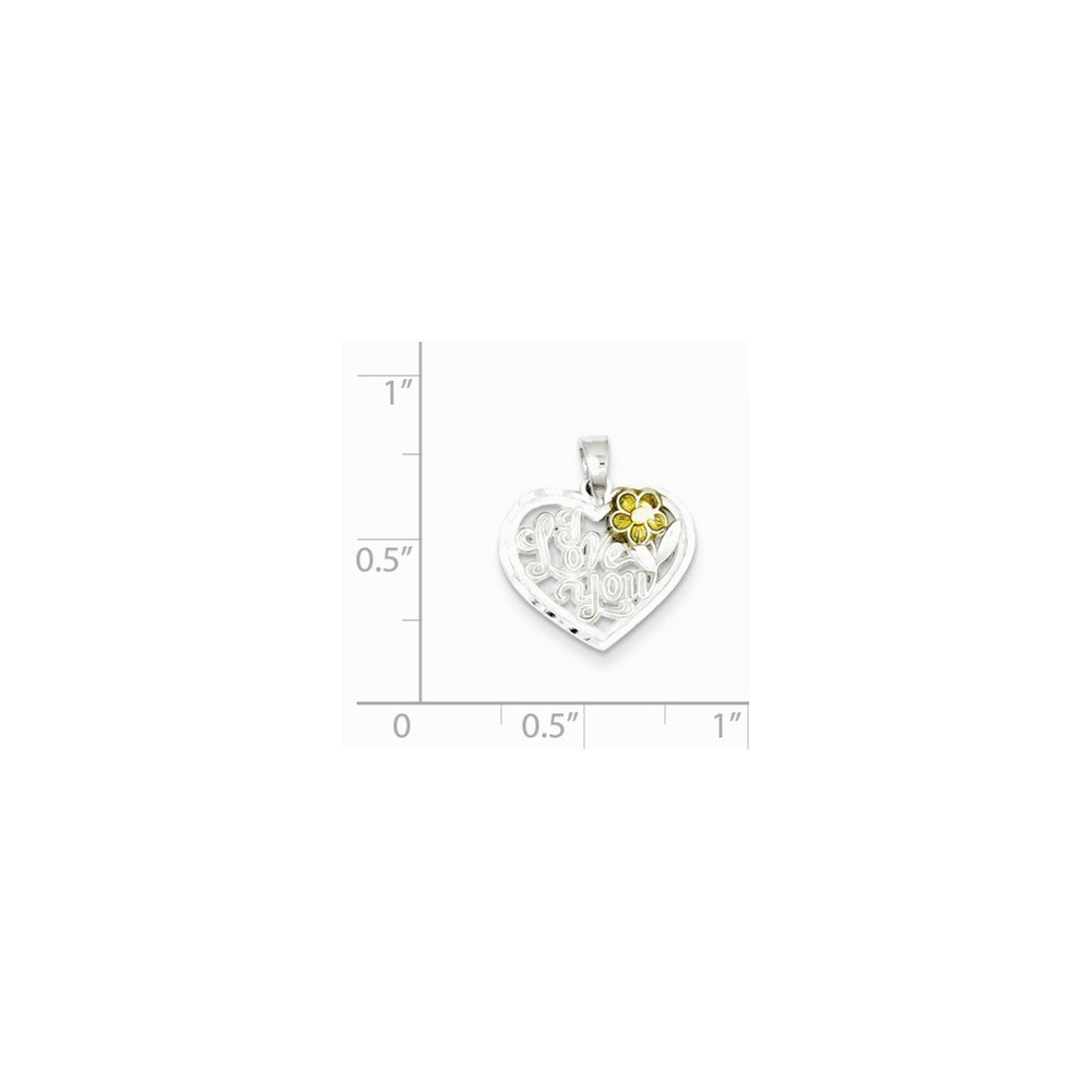 16-20 Mireval Sterling Silver I Love You Heart Charm on a Sterling Silver Chain Necklace