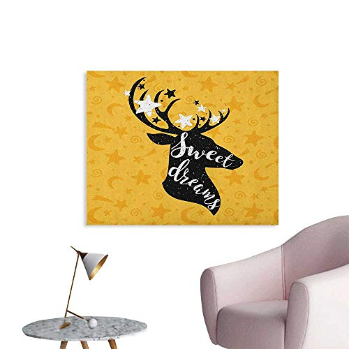 Anzhutwelve Sweet Dreams Photographic Wallpaper Silhouette of Deer Animal with Antlers on a Doodle Background Custom Poster Earth Yellow Black White W28 xL20
