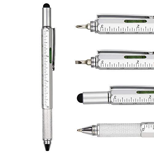 TSML Metal Multi tool Pen 6-in-1 Stylus Pen Blue ink - With Screwdriver, Phillips Flathead Bit, Ballpoint Pen, Stylus pen, Bubble Level and Ruler (Silver) Blue Metal Stylus Pen