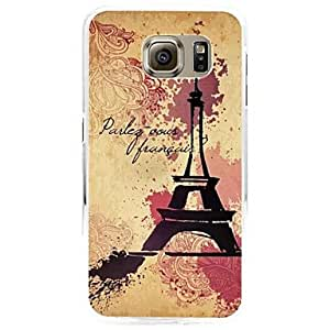 QJM 20150511 Tower image pattern Painted relief Plastic Hard Case for Samsung Galaxy S6