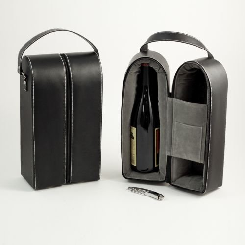 Bey-Berk Leather Wine Bottle Carrier Caddy Travel Tote Bag & Tool Set,Black ()